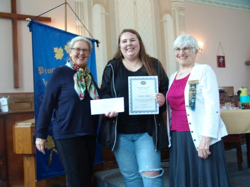A2019 PEDWI Scholarship Student Terra Cobb with District Secretary Betty Zyvatkauskas and outgoing President Evelyn Peck
